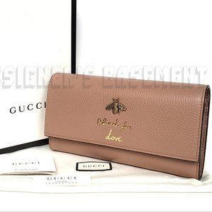 """GUCCI """"OldRose"""" leather BEE Blind for Love Wallet"""